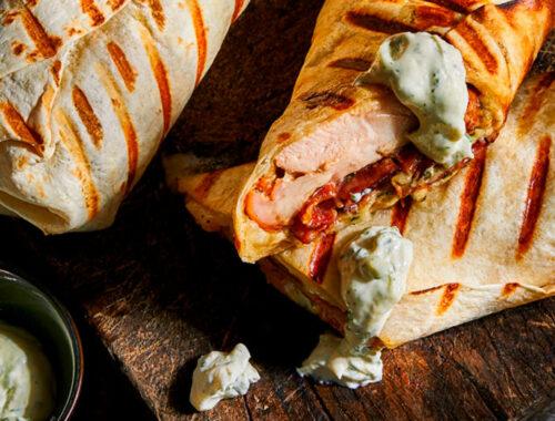 Grilled chicken ranch wraps-header