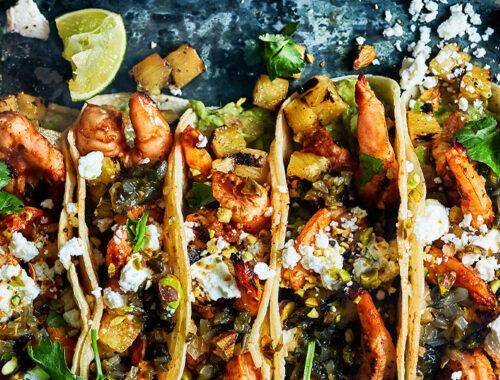 Gegrilde gamba's en ananas taco's-header