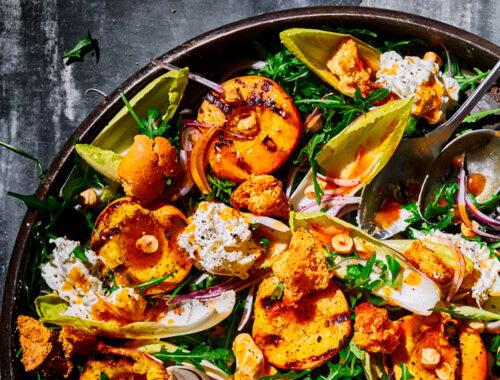 Grilled peach & burrata salad-header