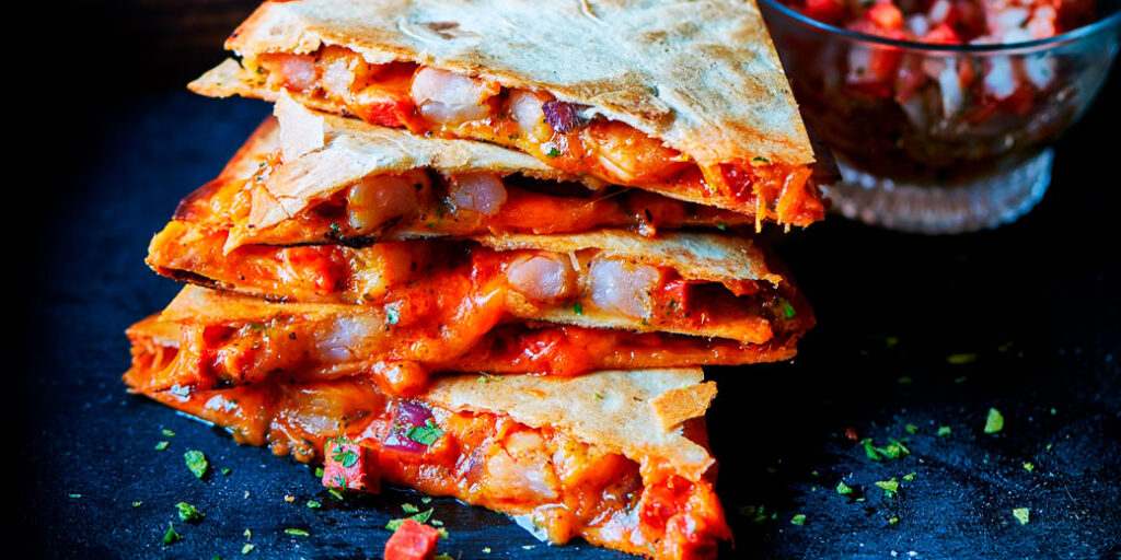 Grilled shrimp and chorizo quesadilla's-header