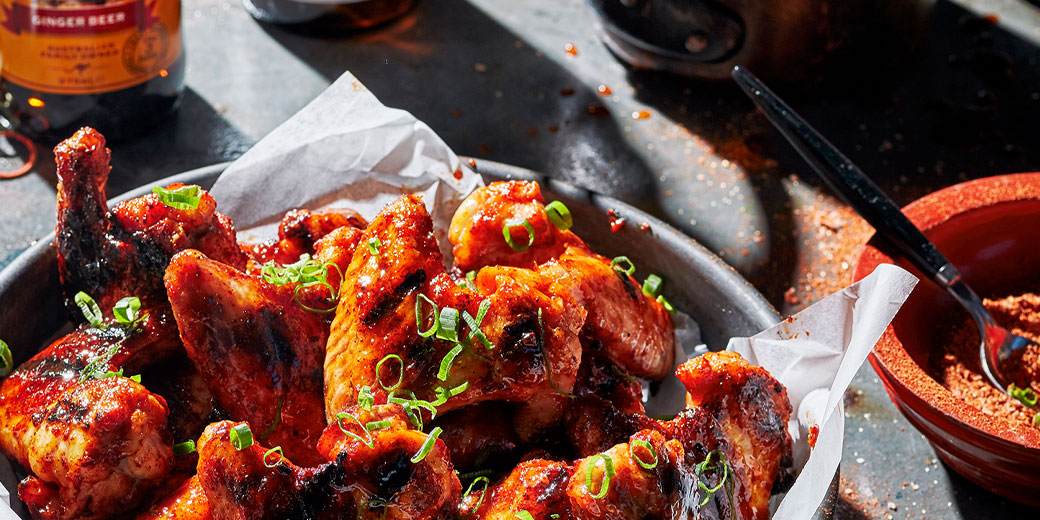 Ginger beer glazed chickenwings-header