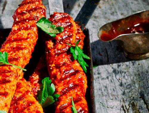 Grilled bacon bourbon chicken kebabs-header